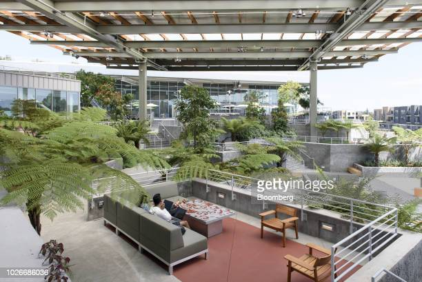 Employees work on laptop computers in an outdoor spaced, referred to as the Bowl, at the new Facebook Inc. Frank Gehry-designed MPK 21 office...