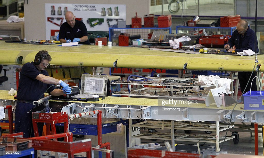 Employees work on the Airbus A320 single-aisle passenger aircraft wing production line at the company's factory in Broughton, U.K., on Monday, Feb. 4, 2013. Airbus SAS won a $9 billion order from Steven Udvar-Hazy's Air Lease Corp. that includes 25 A350 wide-body jets, a competitor to Boeing Co.'s grounded 787 Dreamliner. Photographer: Paul Thomas/Bloomberg via Getty Images