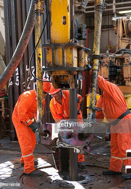 Employees work on the Tonal oil rig owned by Mexican oil company Pemex located 65 miles northeast of Ciudad del Carmen Campeche in the Gulf of Mexico...