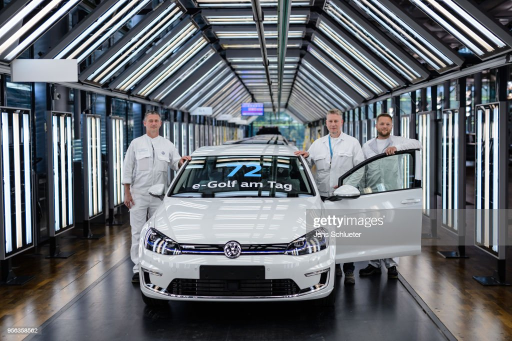 Volkswagen E-Golf Electric Car Production In Dresden : News Photo
