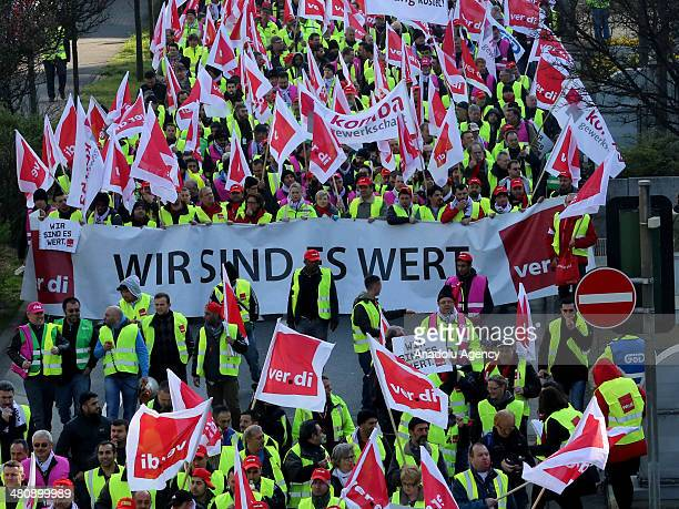 Employees working at Frankfurt Airport participate at strike actions organized by Germany's trade union 'Verdi' in Frankfurt am Main Germany on March...
