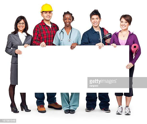 Employment & Jobs: Group Portrait with Blank Sign (Isolated; XXXL)