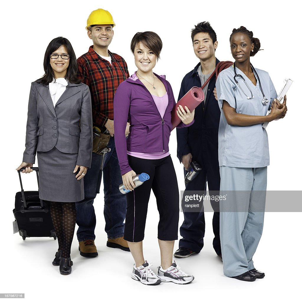 Employment & Jobs: Various Occupations (Isolated; XXXL) : Stock Photo