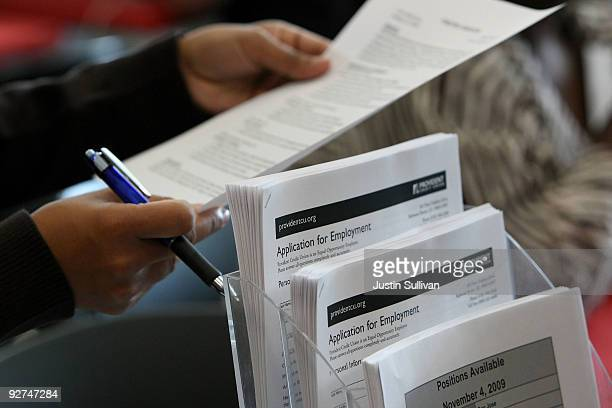 Employment applications for Provident Credit Union are displayed during a job fair November 4 2009 in San Bruno California A report by private firm...