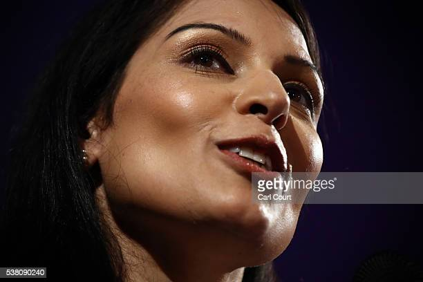 Employment Secretary Priti Patel talks to supporters during a Vote Leave rally on June 4 2016 in London England Boris Johnson and the Vote Leave...