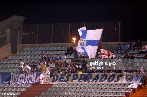 Empoli fans show their support during the Serie A match between Udinese Calcio and Empoli FC at Stadio Friuli on August 31 2014 in Udine Italy