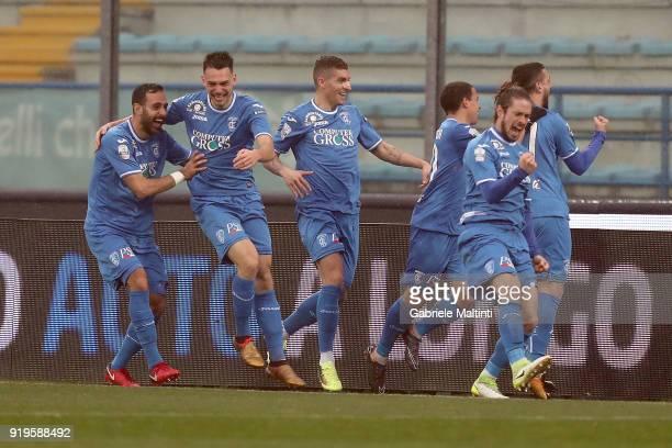 Empoli FC players celebrate a goal scored by Francesco Caputo during the serie B match between FC Empoli and Parma Calcio at Stadio Carlo Castellani...