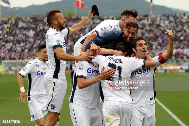 Empoli FC players celebrate a goal scored by Manuel Pasqual during the Serie A match between ACF Fiorentina and Empoli FC at Stadio Artemio Franchi...