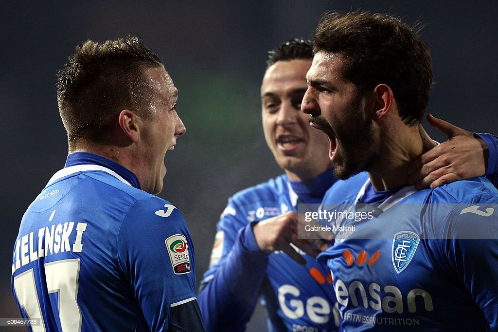 Empoli FC players celebrate a goal scored by Piotr Zielinski during the Serie A match between Empoli FC and AC Milan at Stadio Carlo Castellani on January 23, 2016 in Empoli, Italy.
