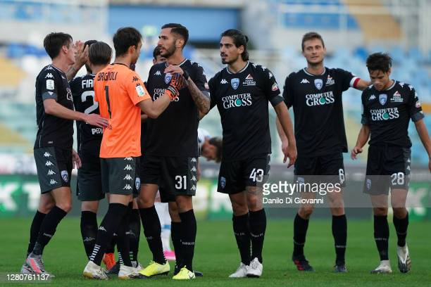 Empoli FC player's celebrate the victory of Serie B match between Pescara Calcio and Empoli FC at Adriatico Stadium on October 17, 2020 in Pescara,...