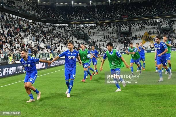 Empoli's Italian forward Patrick Cutrone, Empoli's Albanian midfielder Nedim Bajrami, Empoli's Italian defender Riccardo Fiamozzi, Empoli's Italian...