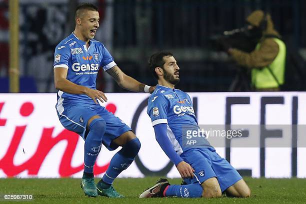 Empoli's midfielder Riccardo Saponara celebrates after scoring a goal during the Italian Serie A football match Empoli Vs AC Milan on November 26...