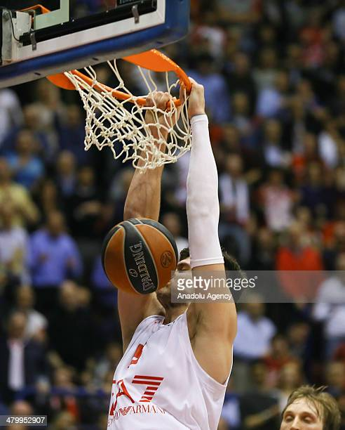 Emporio Armani's Alessandro Gentile in action during the Turkish Airlines Euroleague Top 16 Round 11 basketball match between EA7 Emporio Armani vs...