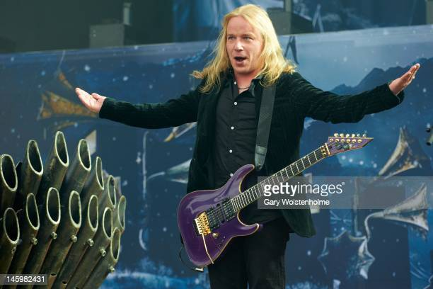 Emppu Vuorinen of Nightwish performs on stage during Download Festival at Donington Park on June 8, 2012 in Castle Donington, United Kingdom.