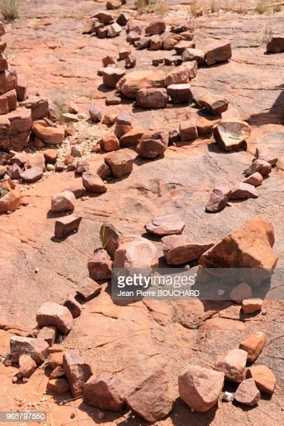 Empreintes tridactyles de dinosaure à Mount Itjo 15 février 2016 Namibie