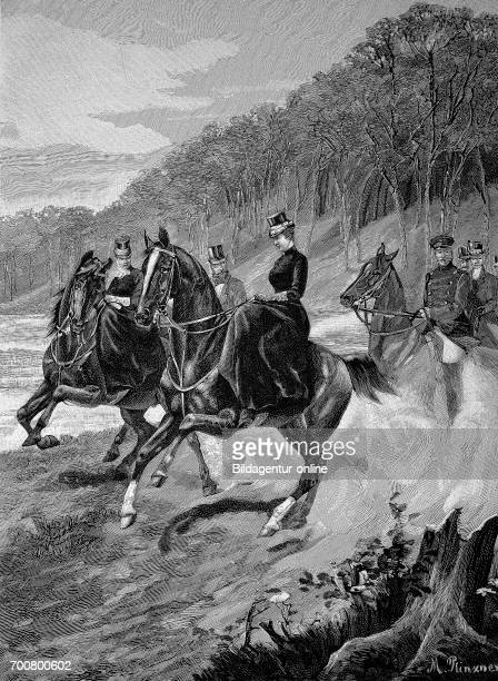 Empress Augusta Victoria on a promenades ride in Grunewald in Berlin Germany Woodcut from 1892