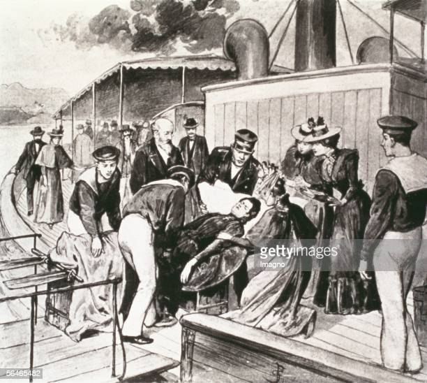 Empress Elisabeth already dead gets carried from board of the ship on which she got after the assasination 1898 Litograph [Kaiserin Elisabeth wird...
