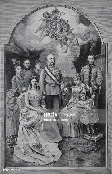 Empress Elisabeth of Austria, Franz Joseph I, Archduchess Marie Valerie, Archduchess Gisela, Stephanie and Elisabeth, Leopold of Bavaria, Archduke...