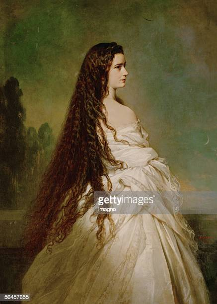 Empress Elisabeth of Austria with flowing hair Oil on canvas 1846 [Kaiserin Elisabeth Gemaelde 1846]