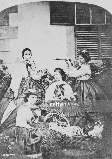 Empress Elisabeth playing her Macheta with her court ladies countess Karoline Hunyadi princess Windischgraetz and Helene Taxis in Madeira Photography...