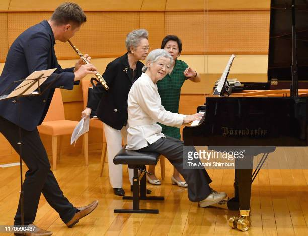 Empress Emerita Michiko attends a piano workshop of the Kusatsu International Summer Music Academy Festival at the Kusatsu OngakunoMori International...