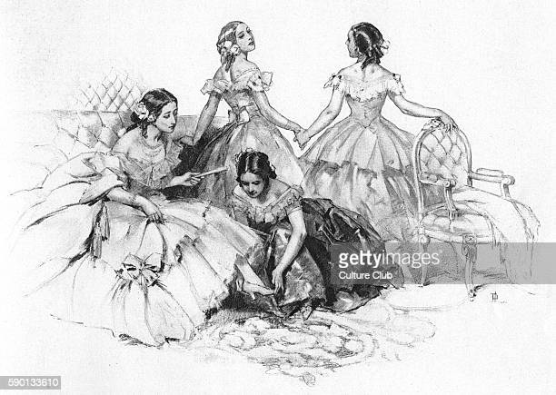 Empress EugŽnie de Montijo last Empress consort of France depicted in the company of young girls in crinoline dresses Published in 1923 Illustration...