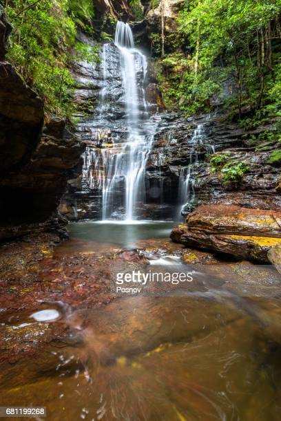 empress falls in valley of the waters, blue mountains, new south wales - blue mountains national park stock pictures, royalty-free photos & images