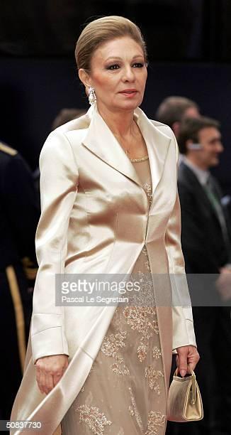 Empress Farah Diba Pahlavi of Iran arrives to attend the wedding between Danish Crown Prince Frederik and Miss Mary Elizabeth Donaldson at Copenhagen...