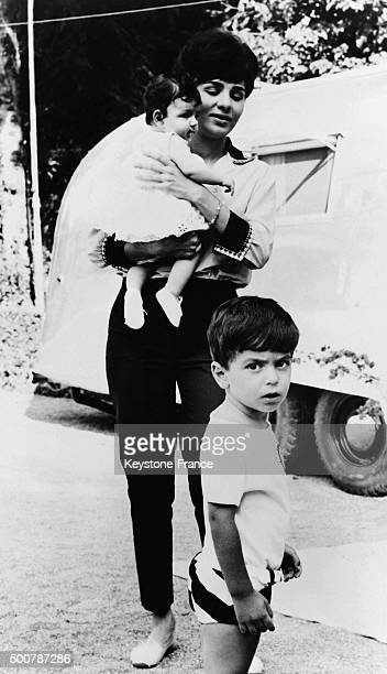 Empress Farah Diba with children Reza and Farahnaz during vacation on the Caspian sea shore on July 7 1963 in Iran