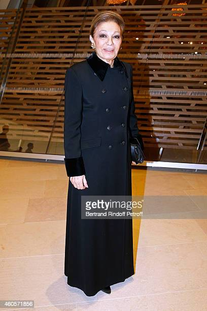 Empress Farah Pahlavi attends the 'Fondation Claude Pompidou' Charity Party at Fondation Louis Vuitton on December 16 2014 in Paris France