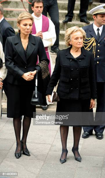Empress Farah Pahlavi of Iran and Bernadette Chirac attend Yves Saint Laurent's Funeral Service on June 5 2008 at Eglise SaintRoch in Paris France...
