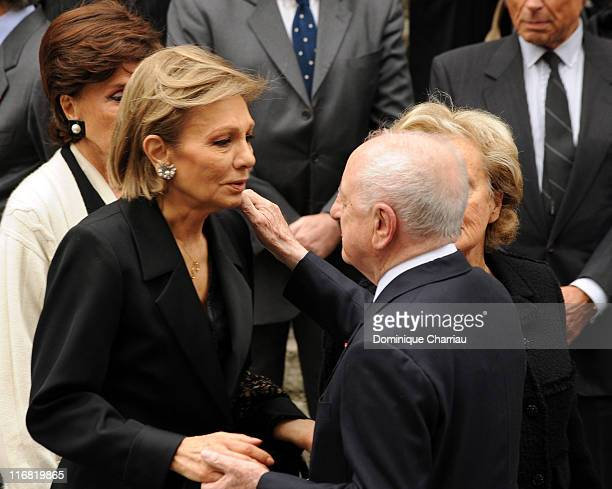 Empress Farah Pahlavi of Iran and Pierre Berge attend Yves Saint Laurent's Funeral Service on June 5 2008 at Eglise SaintRoch in Paris France The...