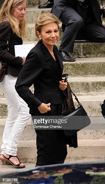 Empress Farah Pahlavi of Iran attend Yves Saint Laurent Funeral at Eglise SaintRoche on June 5 2008 in Paris France