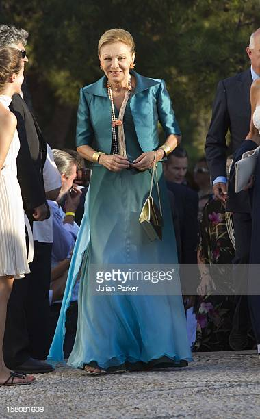 Empress Farah Pahlavi Of Iran Attends The Wedding Of Prince Nikolaos Of Greece And Tatiana Blatnik At The Monastery Of Ayios Nikolaos On The Island...