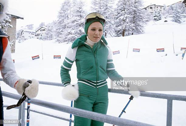 Empress Farah Pahlavi of Iran on a skiing holiday in St Moritz Switzerland 1975 Empress Farah Pahlavi is the wife of the Shah of Iran