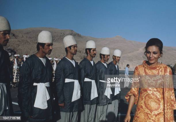 Empress Farah Pahlavi of Iran the consort of the Shah of Iran inspects troops during preparations for the anniversary celebrations of the founding of...