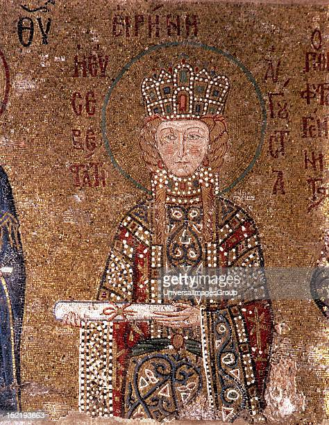 Empress Irene , Byzantine empress, Mosaic of the South Gallery, Hagia Sophia, Istanbul, Turkey.