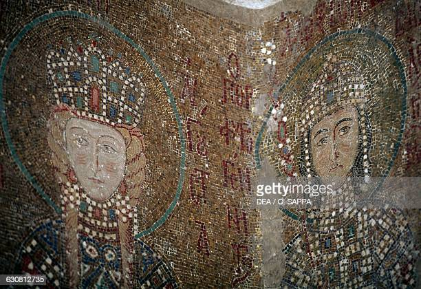 Empress Irene of Hungary with her son Alessio mosaic in Hagia Sophia historic centre of Istanbul Turkey