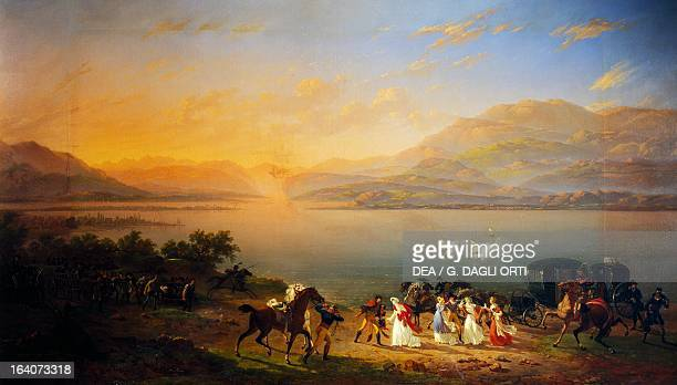 Empress Josephine arriving to visit Napoleon in Italy on the banks of Lake Garda July 30 oil on canvas by Hippolyte Lecomte 111x192 cm French...