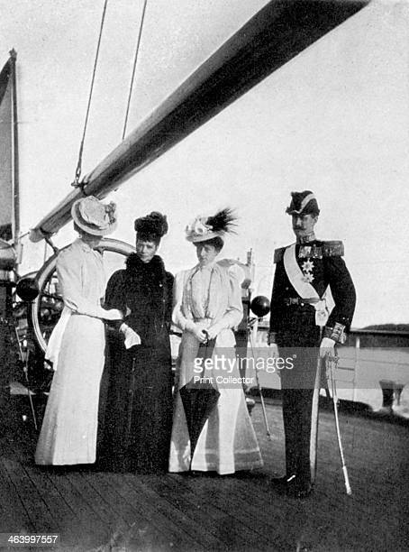 Empress Maria Feodorovna Princess Victoria Queen Maud and King Haakon VII of Norway on board the royal yacht Victoria and Albert III 1908 From Queen...