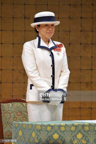 Empress Masako attends the Japan Red Cross Society annual meeting, her first solo official duty, at the Meiji Jingu Kaikan on May 22, 2019 in Tokyo,...