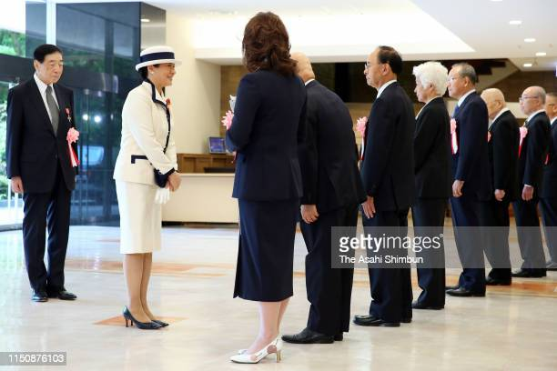 Empress Masako attends the Japan Red Cross Society annual meeting her first solo official duty at the Meiji Jingu Kaikan on May 22 2019 in Tokyo Japan