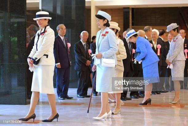 Empress Masako, Crown Princess Kiko of Akishino, Princess Hanako of Hitachi, Princess Nobuko of Mikasa, and Princess Hisako of Takamado leave after...