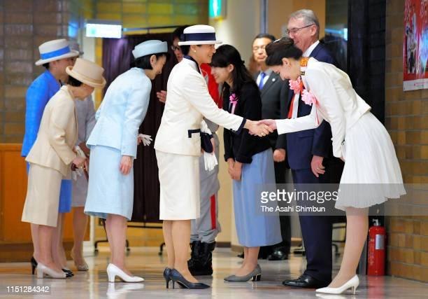 Empress Masako, Crown Princess Kiko of Akishino, Princess Hanako of Hitachi, Princess Nobuko of Mikasa, and Princess Hisako of Takamado talk with...