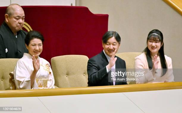 Empress Masako, Emperor Naruhito and Princess Aiko watch bouts on day fourteen of the Grand Sumo New Year tournament at Ryogoku Kokugikan on January...