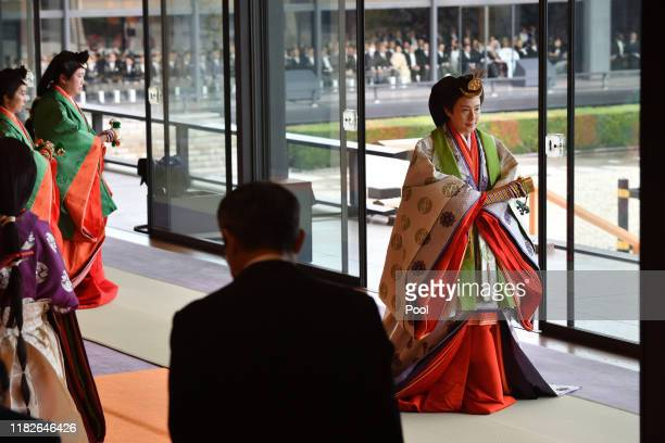 Empress Masako leaves at the end of the enthronement ceremony where Emperor Naruhito officially proclaimed his ascension to the Chrysanthemum Throne...