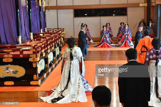 Empress Masako leaves the state room at the end of the enthronement ceremony where Emperor Naruhito officially proclaimed his ascension to the...