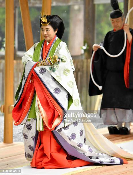 Empress Masako visits the Geku, outer shrine of the Ise Shrine on November 22, 2019 in Ise, Mie, Japan. Emperor and empress visit the shrine to...