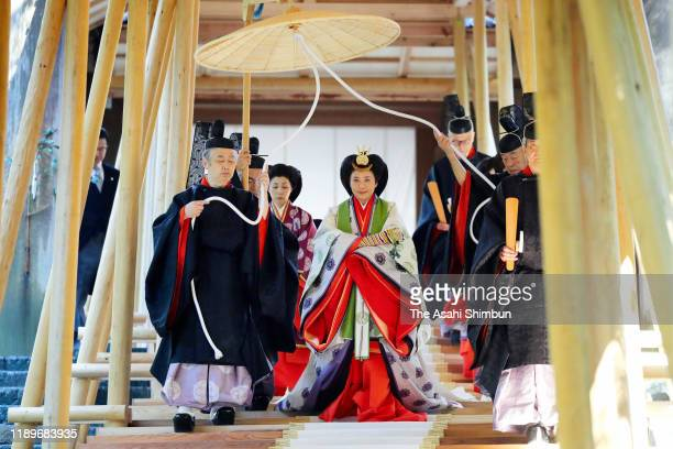 Empress Masako visits the Naiku, Inner Shrine of the Ise Shrine on November 23, 2019 in Ise, Mie, Japan. Emperor and empress visit the shrine to...