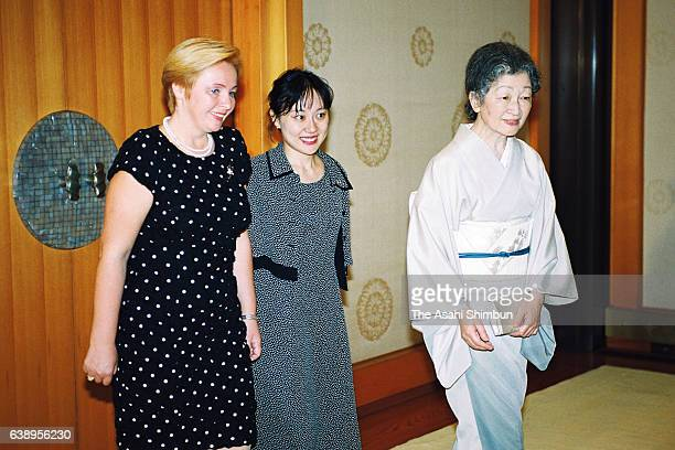 Empress Michiko and Lyudmila Putin wife of Russian President Vladimir Putin are seen prior to their meeting at the Imperial Palace on September 4...